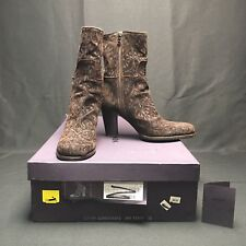 Prada Brown Leather Embroidered Ankle Boots Calazture Donna EU 38 In Box