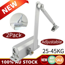 2X Adjustable Hydraulic Automatic Fire Rated Silver Door Closer Suits 25 45Kg