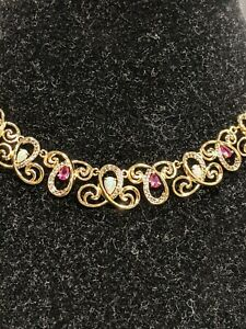 """18K Over Sterling Silver Opal & Pink Sapphire Necklace, 17"""", $650"""