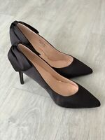 🆕❤️Simply Be High Heel Black Bow Court Shoes Size U.K. 9 Ex Wide Fit NEW