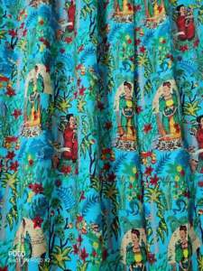 Indian Turquoise Frida Khalo Curtain Home Décor Floral Rod Pocket Rooms Curtains