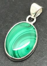 Malachite Oval pendant, Solid Sterling Silver, Actual One. New. Chain. 🇬🇧