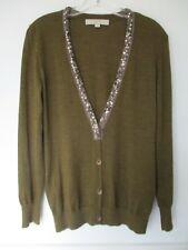 Wool Ann Taylor Loft Women's Size Small Long Sleeve Solid Green Cardigan