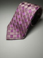 Michael Kors Men's Silk Neck Tie Pink & Plum With Designer Asymmetrical Design