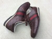 Gucci Italy Mens leather Shoes Size 10 Monogram GG Italy Burgundy brown velvet