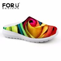 Summer Women Beach Flat Slipper Floral Slip On Sandals Casual Breathable Mesh