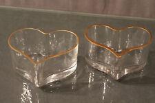 Paire de coupes en verre filet or en forme de coeur fin 19e début 20e