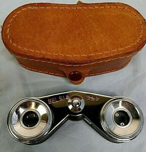 Vintage Selsi 2 1/2 X Binocular Opera  Glasses with Leather Case- Pre-Owned