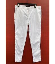 Fabiana Filippi Pants 44 (8) White Slim Leg Ankle Crops Cotton Blend Silver Trim