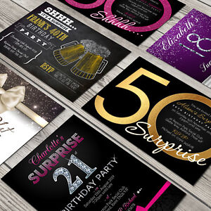 Personalised Surprise Birthday Invitations Party Invites + Envelopes