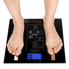 440lbs LCD Digital Bathroom Body Fat Weight Scale Hydration Muscle+Batteries