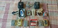 Lot of Vintage Cigarette Lighters Zippo & Harley Davidson Leather Cases