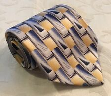 Pierre Cardin Blue Silver Rectangle Print 100% Silk Neck Tie Made In USA NWT New