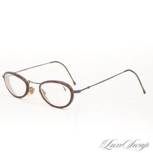 Vintage 1990s Giorgio Armani Made Italy 248 983 Blackened Tortoise Oval Glasses