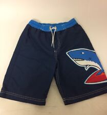 Hanna Andersson Boys Blue Shark Swim Applique Shorts Sz 120  6- 8 Yrs Mesh Beach