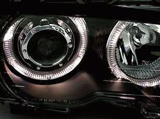 FEUX AVANT ANGEL EYES BMW SERIE 3 E46 COUPE 1999-2001 318 325 330 CI AV NOIR LED