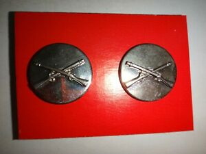 2 US Army INFANTRY Corps Metal Silver Tone Collar Badges