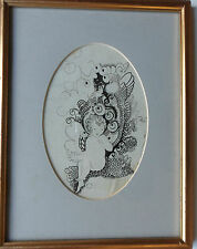 Katie Blackmore RBA Aswa (FL1913-1950) Dibujo Original Firmado Pluma y Tinta C1920'S