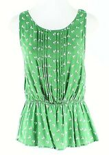 Vanessa Virginia Sz 8 Green White Open Back 100% Rayon Peplum Top G334