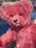 """VINTAGE PINK  MOHAIR TEDDY BEAR WINE DOLL ARTIST BETSY REUM MINIATURE SMALL 7"""""""