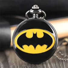 Fashion Black Batman Necklace Pocket Watch Quartz Steampunk Men Women Boy Kid