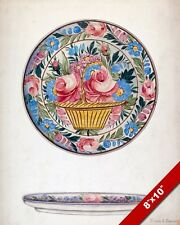 VINTAGE ROSES FLOWER PATTERN CHINA PLATE CONCEPT PAINTING ART REAL CANVAS PRINT