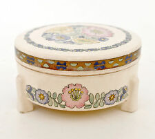 1900-40 Cream & Gold Floral, Porcelain Box, Hand Painted on Blank Signed