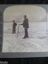 STA057 Mer de glace glacier Aletsch Suisse 1901 STEREO albumen Photo Stereoview