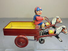 VINTAGE MARX'S ?? CLOCKWORK MODEL  OF PONY & CART WITH BOY