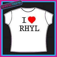 I Love Heart Rhyl Wales Adults Mens T Shirt