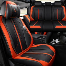 Microfiber Leather Seat Cushion Cover 5 Seats Full Surrounded Black & Orange