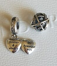 2 charms PANDORA Dangle My Beautiful Wife heart and GALAXY 925 sterling silver