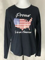 Fashion Bug Womens Top Xl Navy Blue 3/4 Sleeve Tee Proud To Be An American