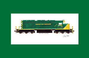 """Reading & Northern SD40-2 11""""x17"""" Matted Print Andy Fletcher signed"""