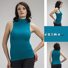 Women Sleeveless Mock Neck Shirt Turtleneck Tank Top Stretch Slim Fit Tee Shirt