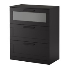 IKEA Brimnes 3-Drawer Chest Black Frosted Glass 203.603.98