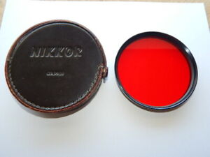 Nikon NIKKOR 95mm R60 Red Filter Glass Lens with Leather Case Made in Japan RARE