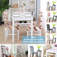 4pcs Pattern Dining Chair Cover Stretch Bar Stool Slipcover Seat Protectors