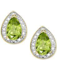 $100 NEW MACYS 18K over Sterling Silver Peridot Stud Earrings, Green/Gold