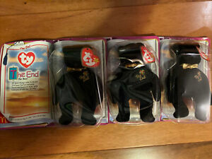 Lot Of 3 TY THE END 😷 the Bear Beanie Baby New in Box by McDonalds Corporation
