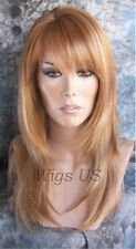 Long Wig Strawberry Blonde Mix Layers Skin Side Part Full Bangs Alicia Wigs US