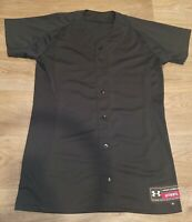 Black Under Armor Baseball Style Practice Jersey Mens Size Medium Button Up Logo