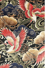 MAJESTIC CRANES:  BLACK Asian Japanese Quilt Fabric (BTY)