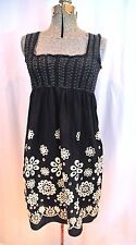 Max Studio Embroidered Cotton Black Sundress Size SMALL Babydoll Style Lined