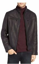 NEW MICHAEL KORS MENS WASHED NUBUCK LEATHER MOTO LACKET ALL SIZES BLACK / BROWN