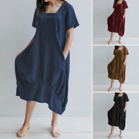 Women Short Sleeve Casual Long Shirt Dress Baggy Loose Oversized Kaftan Plus