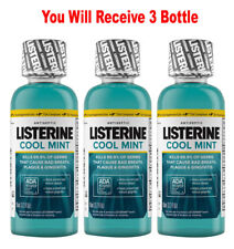 (3-Pack) Listerine Mouthwash Cool Mint Antiseptic Bad Breath Travel Size 3.2oz