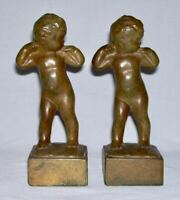 """LOISE H. WILDER ~ Vintage Pair of Antique Bronzed """"INFANT GIRL"""" BOOKENDS Signed"""
