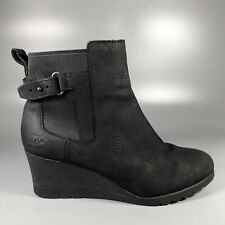 UGG Australia Ladies Waterproof Black Leather Wedge Ankle Boots Size UK 6 EU 39