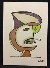 Expressionniste l'homme à la cigarette signé Aron technique mixte